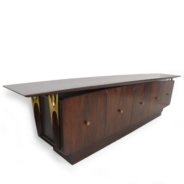 Brass Mid Century Modern Solid Mahogany & Brass Credenza Attributed to Eugenio Escudero For Sale - Image 7 of 7