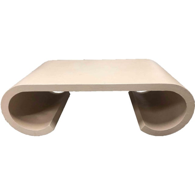 1970s Asian Modern Grasscloth Scroll Form Coffee Table For Sale - Image 9 of 10