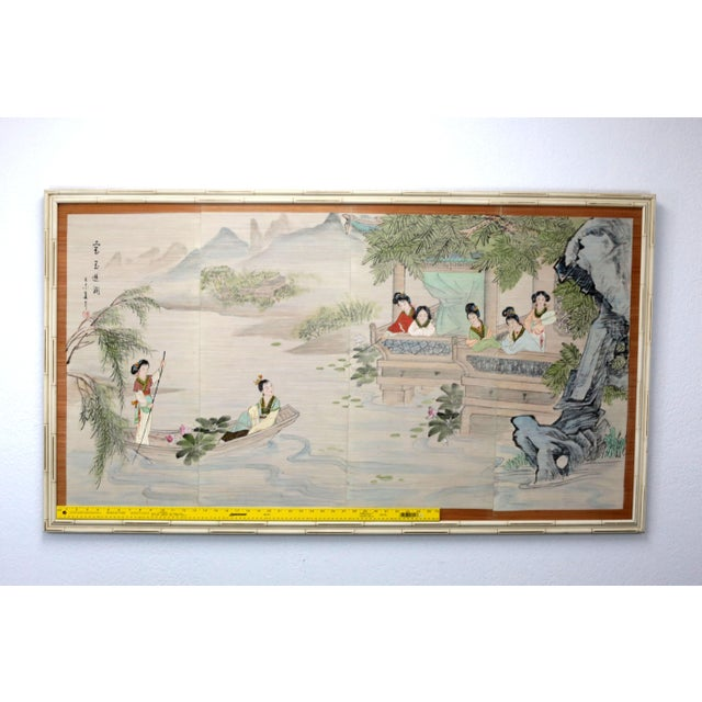 Large Painting of Asian Ladies in a Pagoda and Lake Scene For Sale - Image 10 of 13