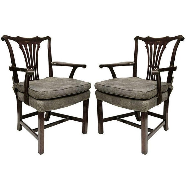 1950s Georgian Style Mahogany Arm Chairs - a Pair For Sale In Los Angeles - Image 6 of 6