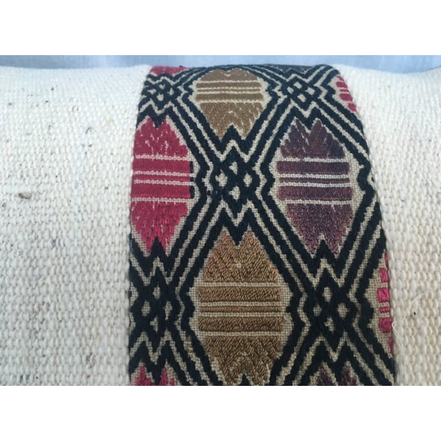 African Mud Cloth Pillow with Tribal Inset - Image 3 of 4