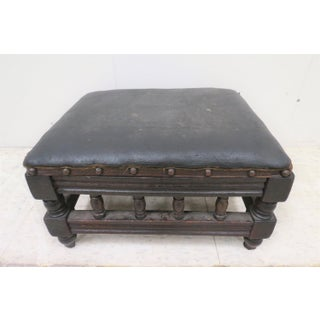 Early 20th Century Antique English H. Howarth Leather Top Footstool Preview