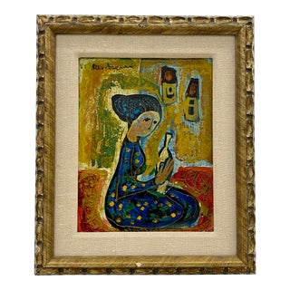 "Mid Century ""Girl With Bottle"" Original Oil Painting C.1960s For Sale"