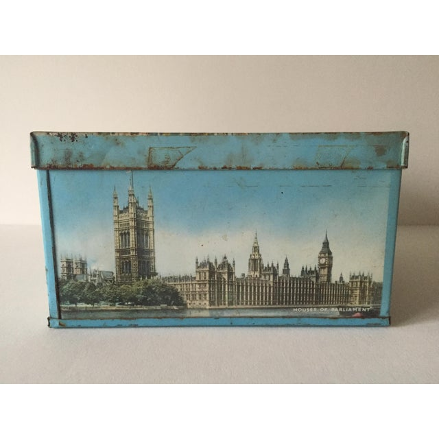 Blue 1940's Elkes Ltd. Trafalgar Large Square English Biscuit Tin Box With Lid For Sale - Image 8 of 11