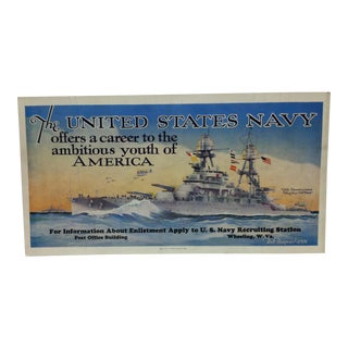 "Vintage &, Original u.s. Navy Recruiting Poster, Wheeling Wv, ""u.s.s. Pennsylvania"", 1939 For Sale"