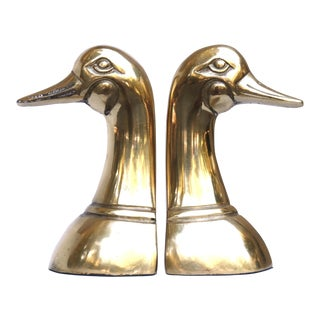 Mid Century Brass Duck Bookends - A Pair