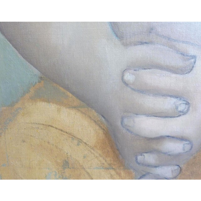 Blue Large Painting by Provincetown Painter Remo Michael Farrugio of His 3rd Wife Well Listed For Sale - Image 8 of 10