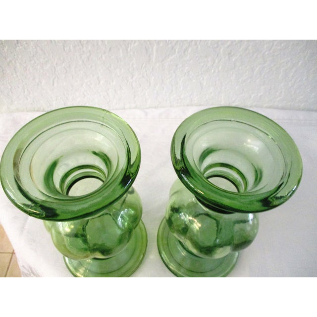 Spanish Lime-Green Glass Candle Holders - a Pair - Image 7 of 7