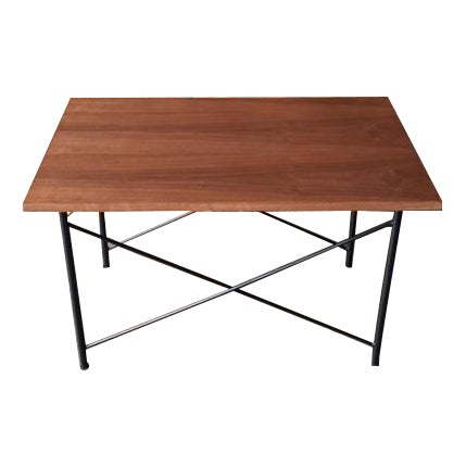 Custom Mid Century Style Walnut Wrought Iron Side Coffee Table For Sale