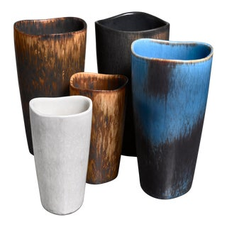 Gunnar Nylund Set of Five Aks Vases, Sweden, 1950s For Sale