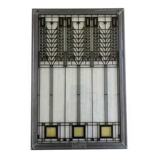 Frank Lloyd Wright Inspired Stained Glass Panel For Sale