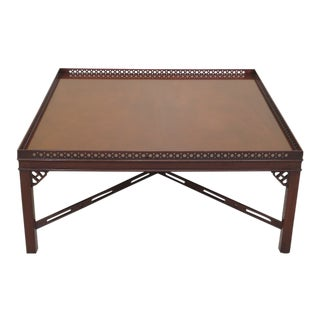 Wood & Hogan Large Square Mahogany Coffee Table For Sale