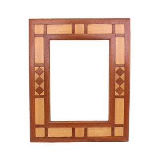Mid-Century Modern Two-Tone Teak Mirror For Sale