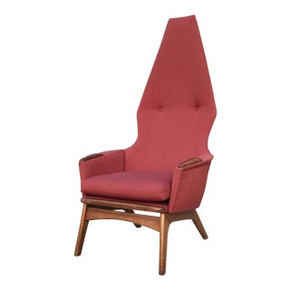 1960s Vintage Dramatic High-Back Adrian Pearsall Lounge Chair For Sale