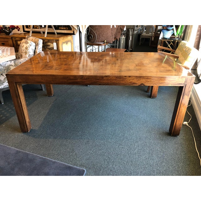 Custom Parquet Extension Dining Table For Sale - Image 13 of 13