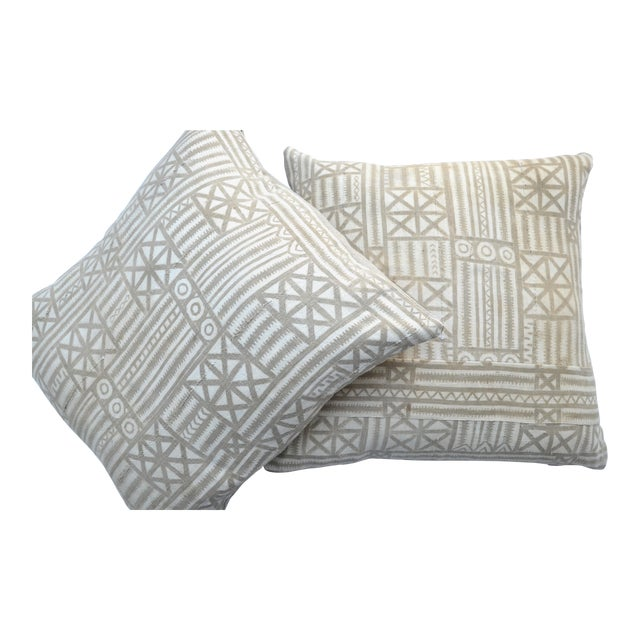 Vintage Traditional Mud Cloth Pillow Pair 24 X 24 For Sale