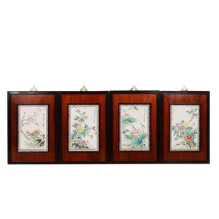 Antique Chinese Painted Porcelain Panels - Set of 4 For Sale