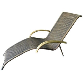 Midcentury Italian Woven Rattan Chaise Lounge, Restored For Sale