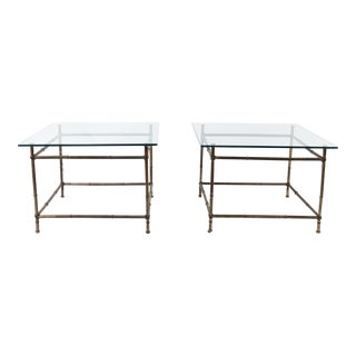 Faux Bamboo Gilt Metal Tables - a Pair