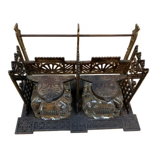 Glass and Cast Metal Inkwell and Letter Holder For Sale