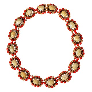 1964 Vintage Christian Dior Jeweled Necklace For Sale