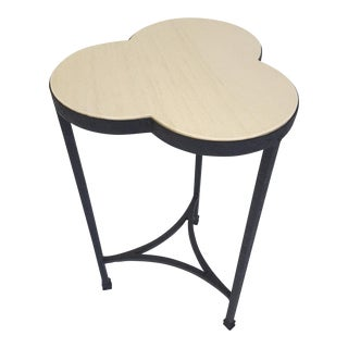 Iron and Limestone Clover Side Table