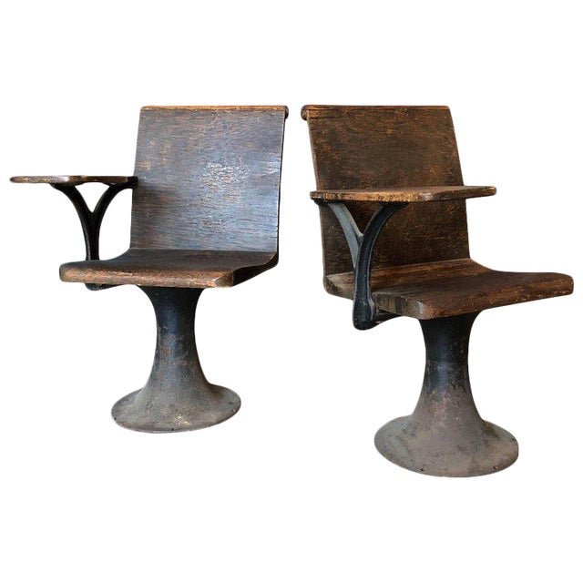 Pair of Vintage Industrial 1920s School Chairs For Sale