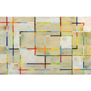 """""""Cross Lines 21-1"""" Contemporary Abstract Pattern Oil Painting by Petra Rös-Nickel For Sale"""