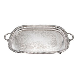 Large Vintage Silver Plate Footed Gallery Tray For Sale