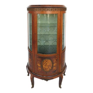 Italian Marquetry Curved Glass Curio For Sale