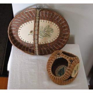 Pine Needle Artisan Baskets With Ceramic Accents - a Pair Preview