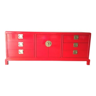 Asian Style Campaign Red Lacquered Credenza For Sale