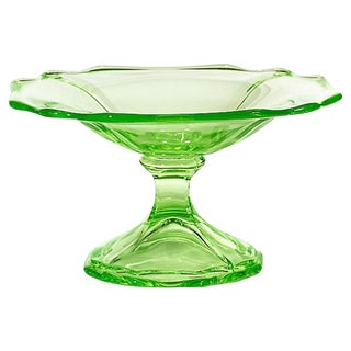 1930s Green Glass Footed Compote For Sale