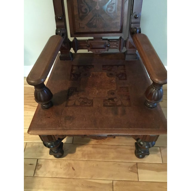 1900 - 1909 Renaissance Revival Mahogany Throne Chair For Sale - Image 5 of 9