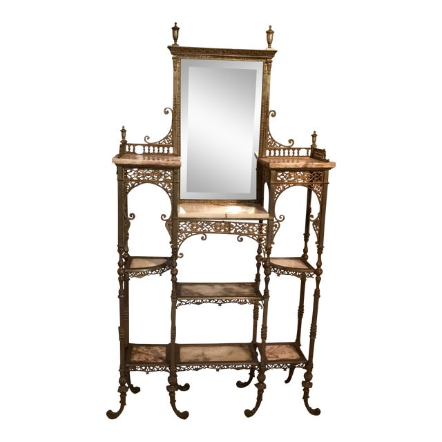 1990s Mid-Century Modern Gold and Brass Marble Etagere For Sale