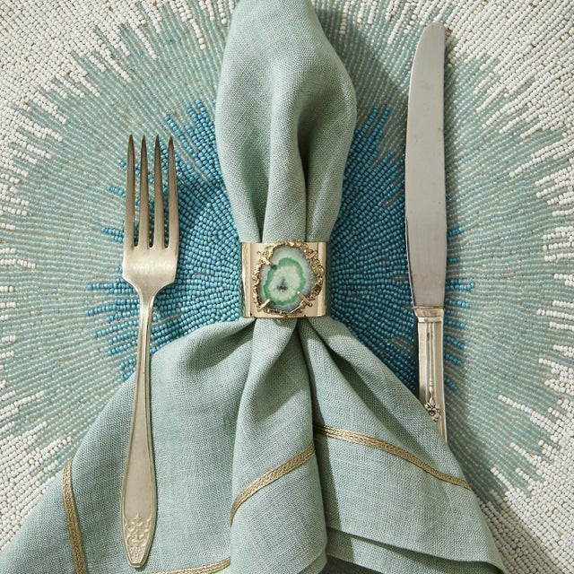 Contemporary Crystal Quartz Napkin Rings, Seafoam, Set of Two For Sale - Image 3 of 8