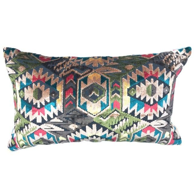 Art Deco-Style Tribal Velvet Pillow - Image 1 of 7