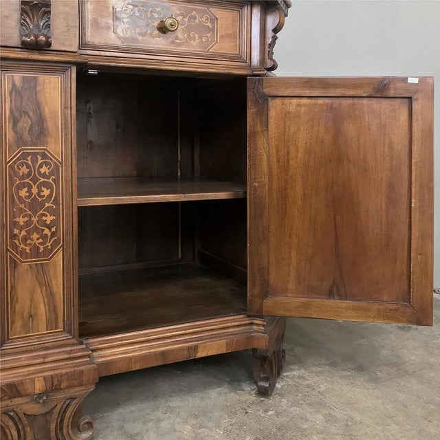 Antique Italian Baroque Inlaid Walnut Buffet For Sale - Image 10 of 13