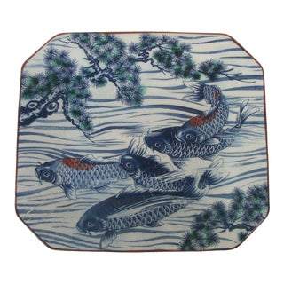 Chinoiserie Blue and White Platter With Asian Koi Carp Fish For Sale