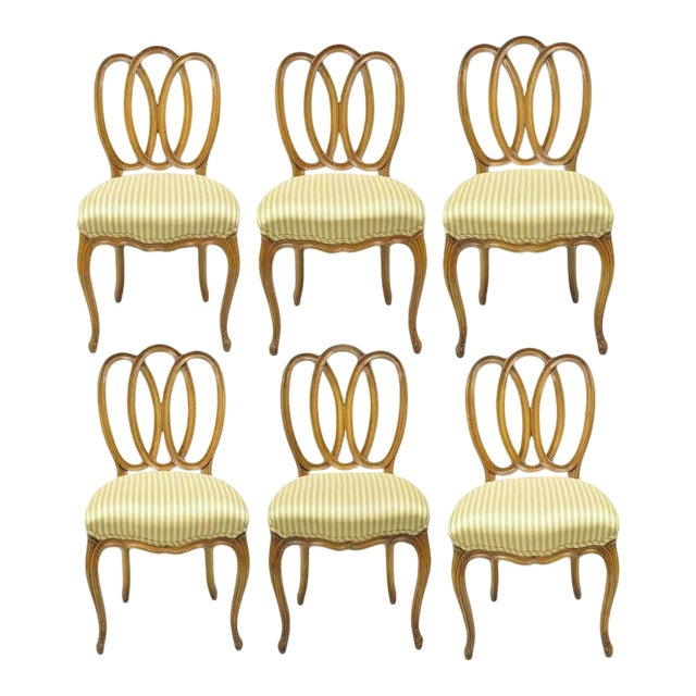 1950s Vintage French Provincial Triple Oval Pretzel Back Walnut Dining Chairs- Set of 6 For Sale