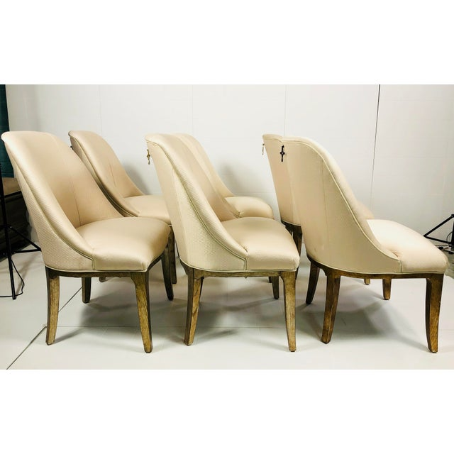 Contemporary Contemporary Champagne Cream Upholstered Dining Chairs - Set of 3 For Sale - Image 3 of 10