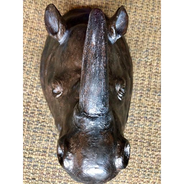 Americana Black Plaster Rhino Head Wall Art | Chairish