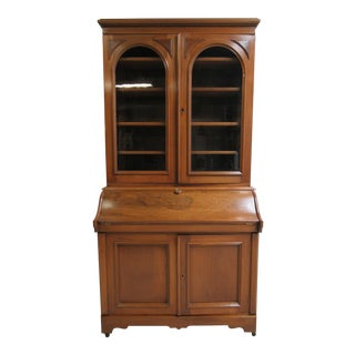 Antique Victorian Walnut Drop Front Ladies Secretary Desk For Sale