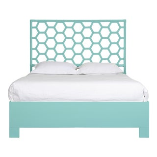 Honeycomb Bed Queen - Turquoise For Sale