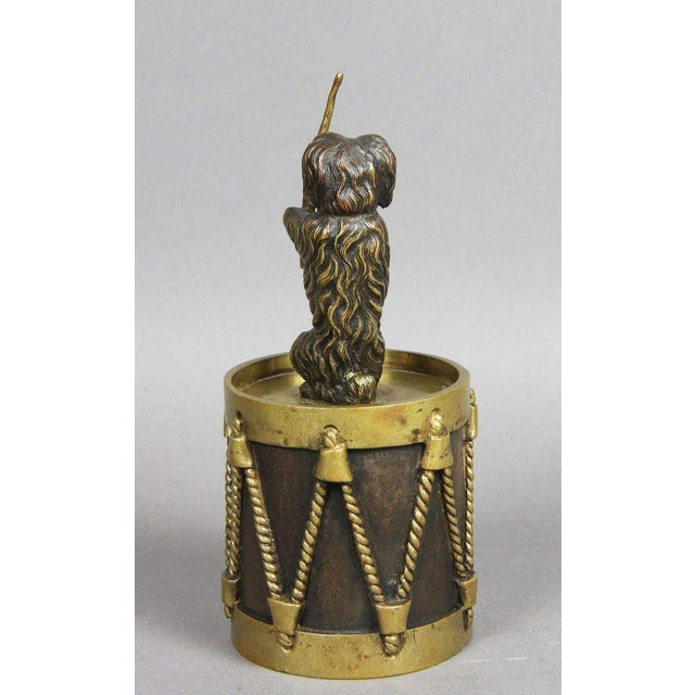 European Bronze Figure Of A Dog Seated On A Drum Dinner Bell For Sale - Image 5 of 7