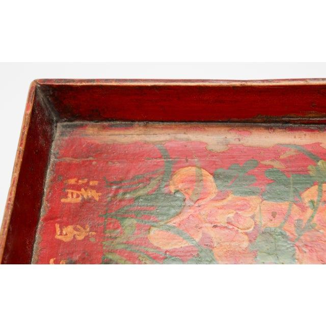 Chinese Antique Red Hand Painted Wood Tray For Sale - Image 10 of 13