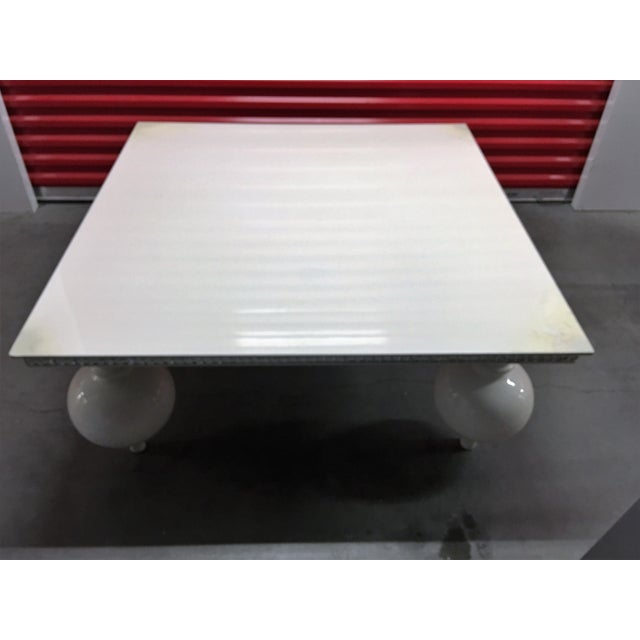 White Lacquer Coffee Table with Mirrored Edges - Image 4 of 6
