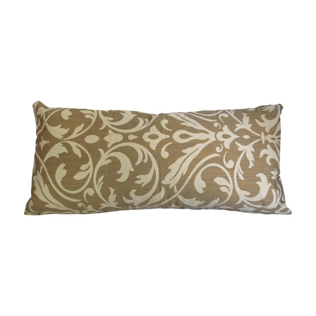 Gold Damask Bolster Pillow - Image 1 of 5
