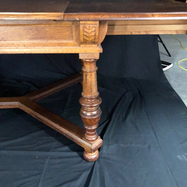 Brown Carved Oak Arts and Crafts Art Deco French Expandable Dining Table For Sale - Image 8 of 13