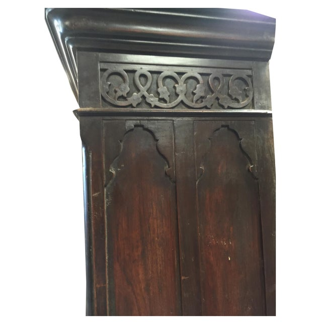 Antique Indian Hand Carved Rosewood Armoires With Etched Mirror For Sale - Image 4 of 9